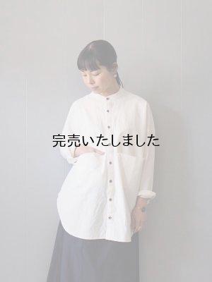 画像1: AU GARCONS(オーギャルソン) AUBIN-バンドカラーシャツ -ホワイト