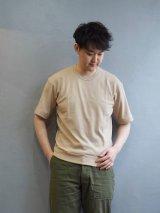 Gicipi(ジチピ) G.LARGO 1/2-コットンクルーネックリブワイドフィットTシャツ ベージュ