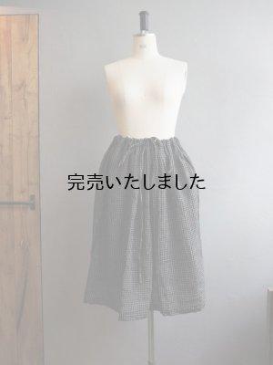 画像1: jujudhau(ズーズーダウ) KINCHAKU SKIRT-キンチャクスカート- BLACK×NATURAL CHECK