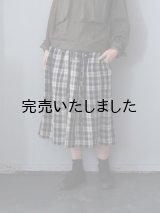 jujudhau(ズーズーダウ) KINCHAKU SKIRT-キンチャクスカート- リネン タータン