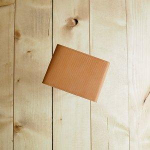 画像1: POSTALCO(ポスタルコ) Small Billfold Wallet with Coin Pocket-クロスグレインレザー折り畳み財布 ブラウン